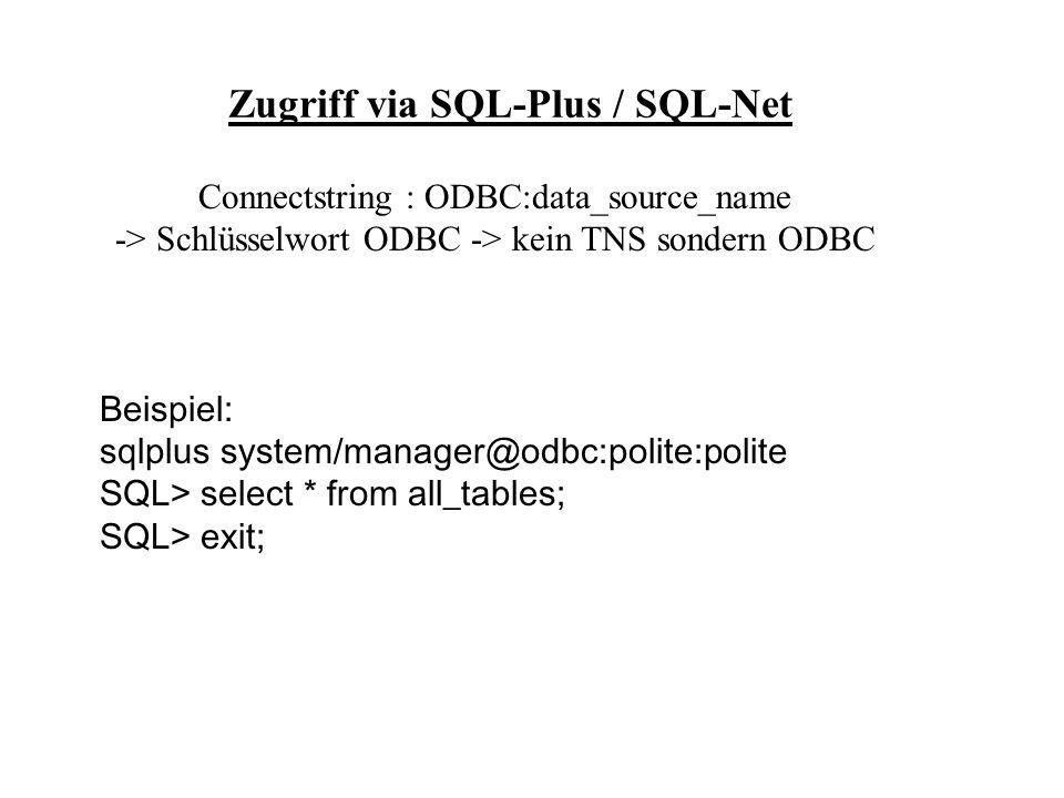 Zugriff via SQL-Plus / SQL-Net