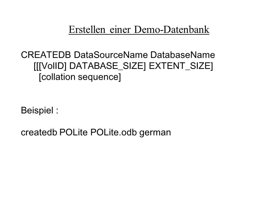 Erstellen einer Demo-Datenbank