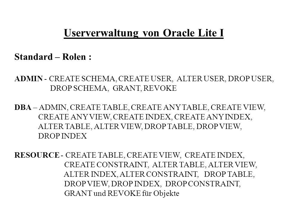 Userverwaltung von Oracle Lite I