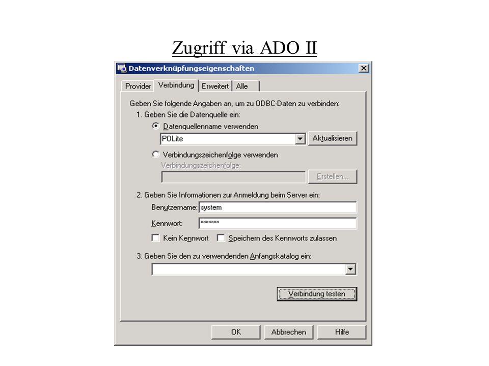 Zugriff via ADO II