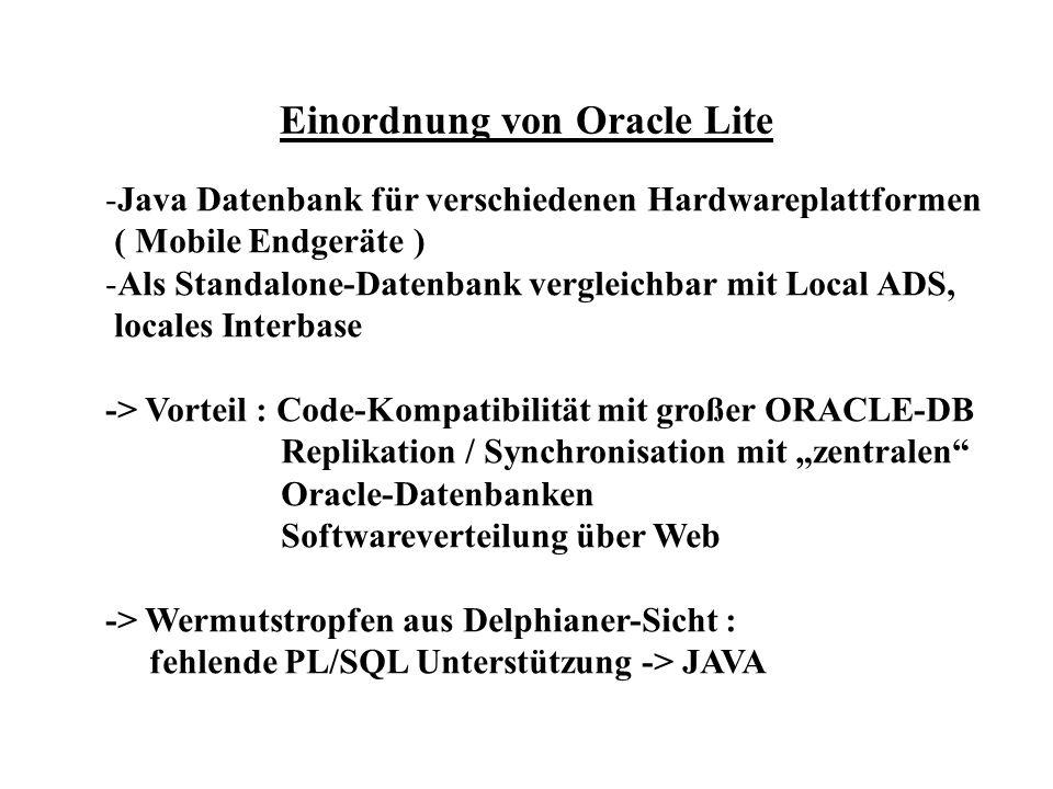 Einordnung von Oracle Lite