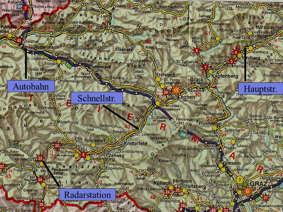 Radarstandorte Autobahn Hauptstr. Schnellstr. Radarstation