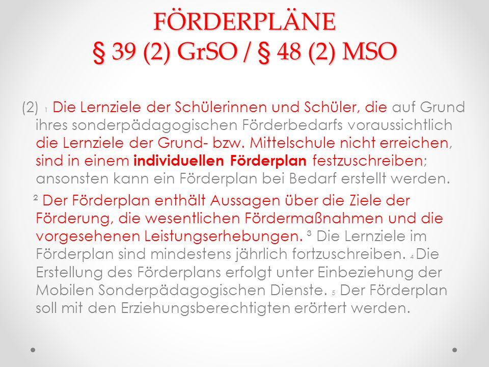 FÖRDERPLÄNE § 39 (2) GrSO / § 48 (2) MSO