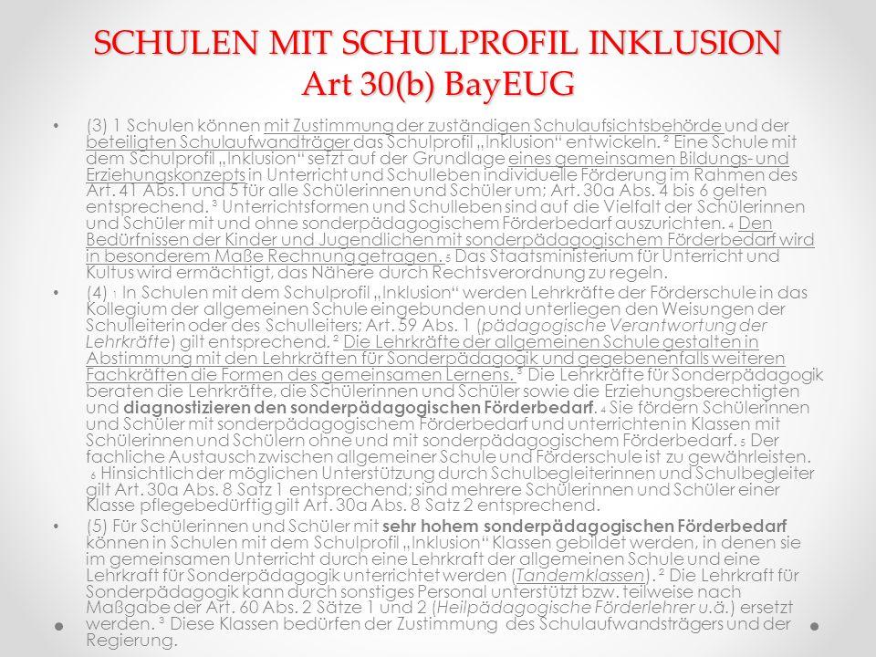 SCHULEN MIT SCHULPROFIL INKLUSION Art 30(b) BayEUG