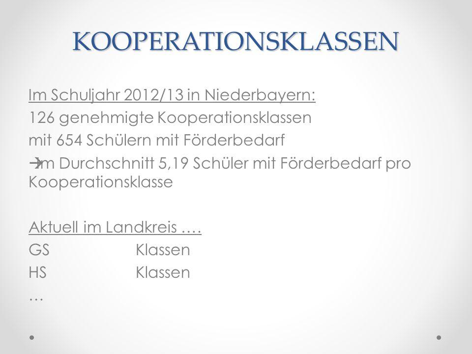 KOOPERATIONSKLASSEN Im Schuljahr 2012/13 in Niederbayern: