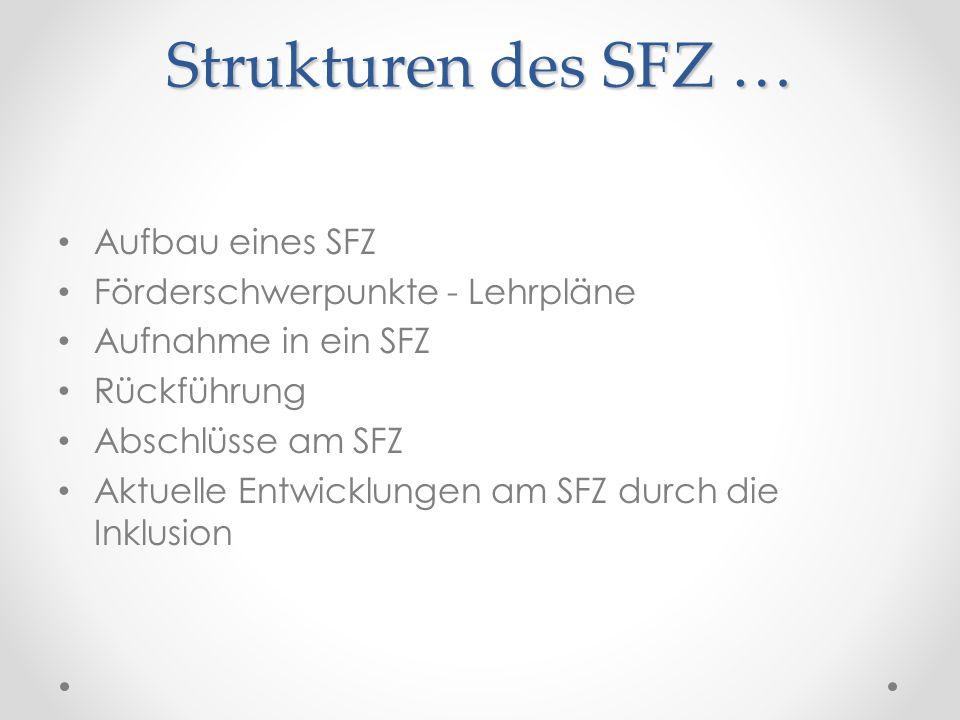 Strukturen des SFZ … Aufbau eines SFZ Förderschwerpunkte - Lehrpläne