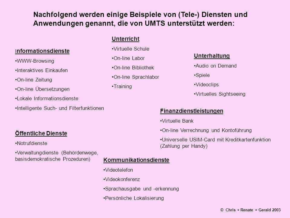 Nachfolgend werden einige Beispiele von (Tele-) Diensten und Anwendungen genannt, die von UMTS unterstützt werden: