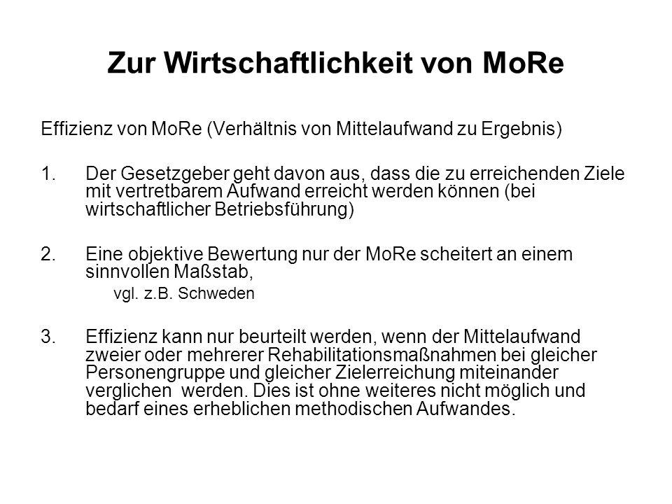 Zur Wirtschaftlichkeit von MoRe