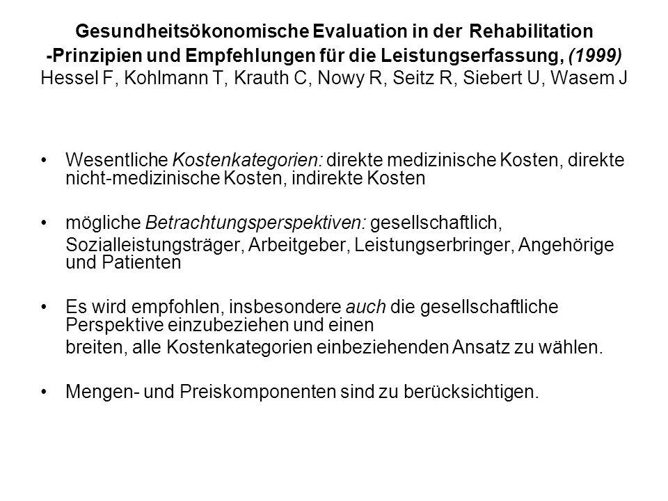 Gesundheitsökonomische Evaluation in der Rehabilitation -Prinzipien und Empfehlungen für die Leistungserfassung, (1999) Hessel F, Kohlmann T, Krauth C, Nowy R, Seitz R, Siebert U, Wasem J