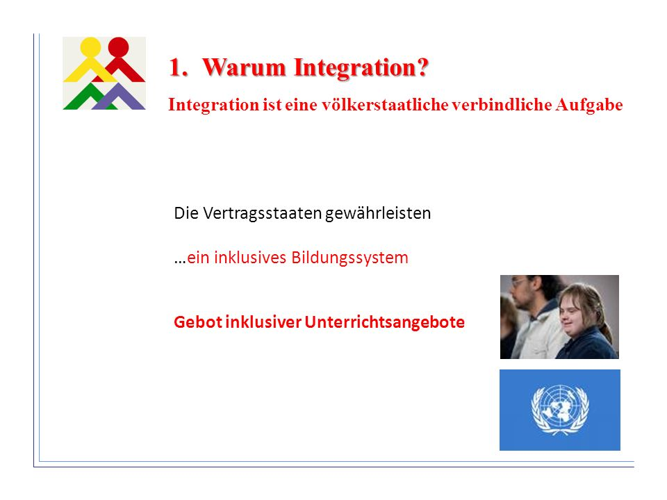 Warum Integration Integration ist eine völkerstaatliche verbindliche Aufgabe. Die Vertragsstaaten gewährleisten …ein inklusives Bildungssystem.