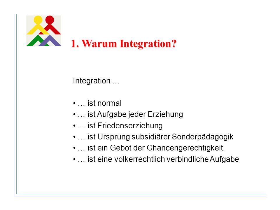 1. Warum Integration Integration … … ist normal