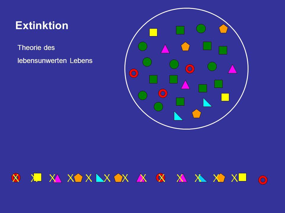 Extinktion X X X X X X X X X X X X X Theorie des lebensunwerten Lebens