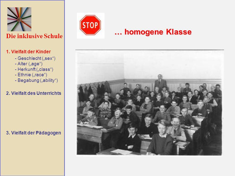 … homogene Klasse Die inklusive Schule 1. Vielfalt der Kinder