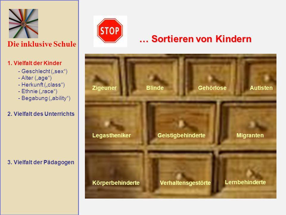Die inklusive Schule … Sortieren von Kindern … Vielfalt der Kinder