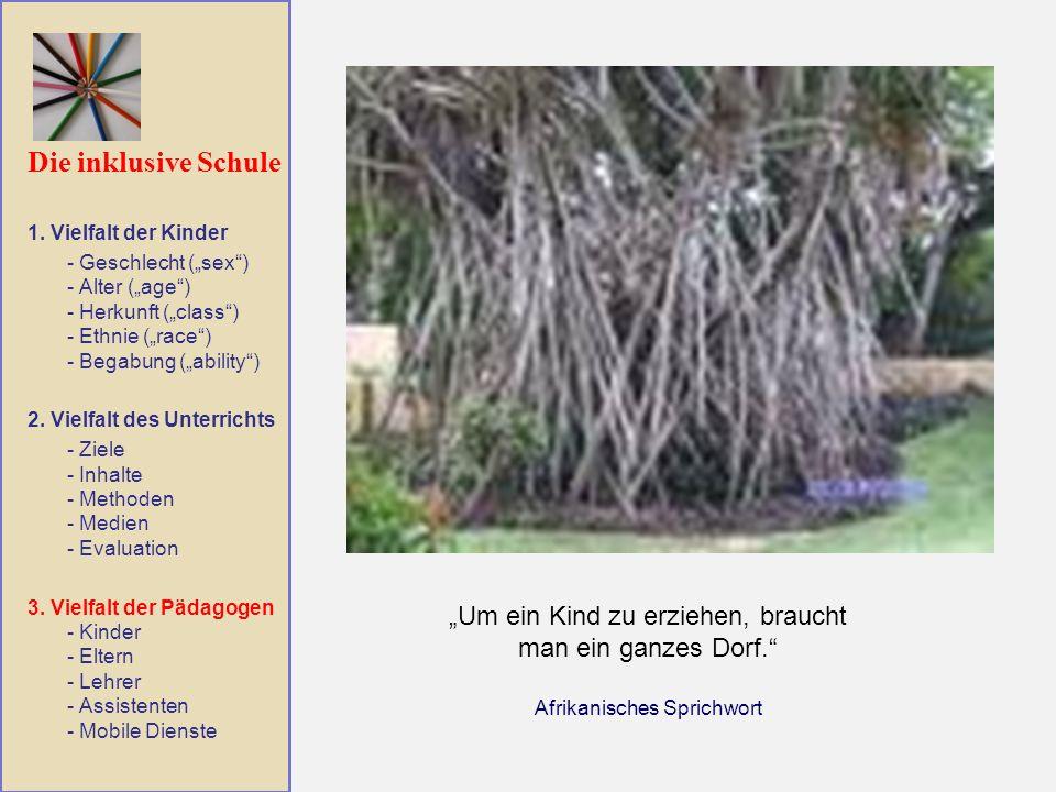 """Die inklusive Schule 1. Vielfalt der Kinder. - Geschlecht (""""sex ) - Alter (""""age ) - Herkunft (""""class ) - Ethnie (""""race ) - Begabung (""""ability )"""