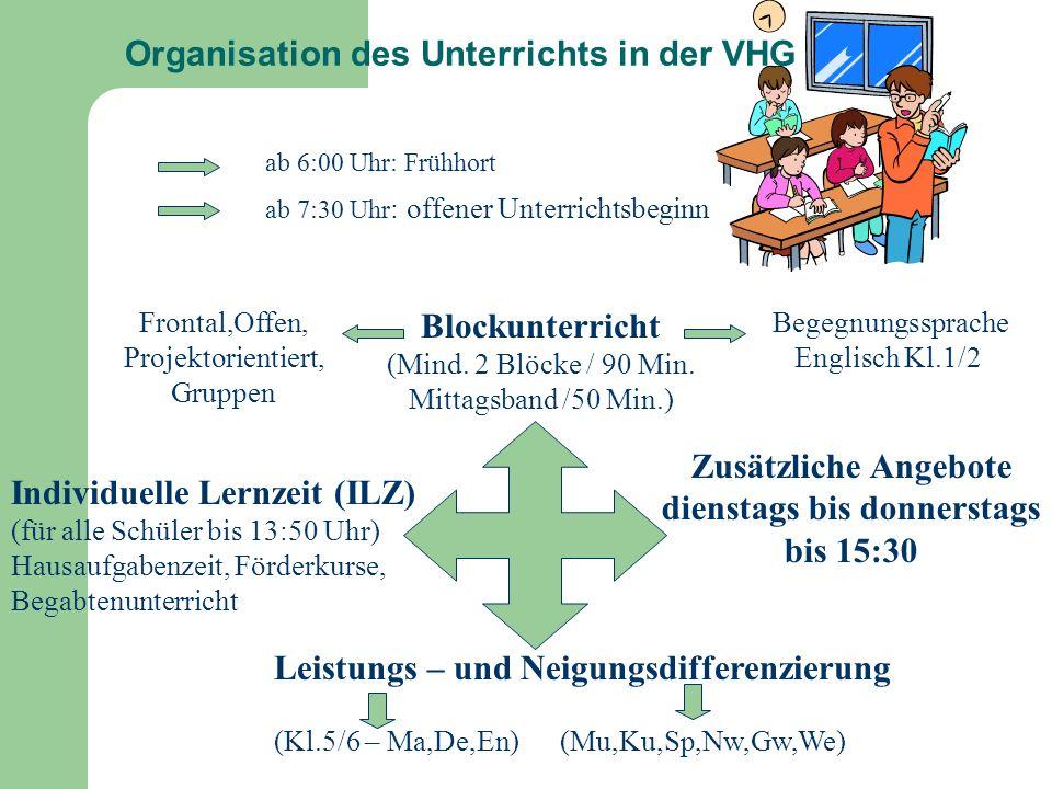 Organisation des Unterrichts in der VHG