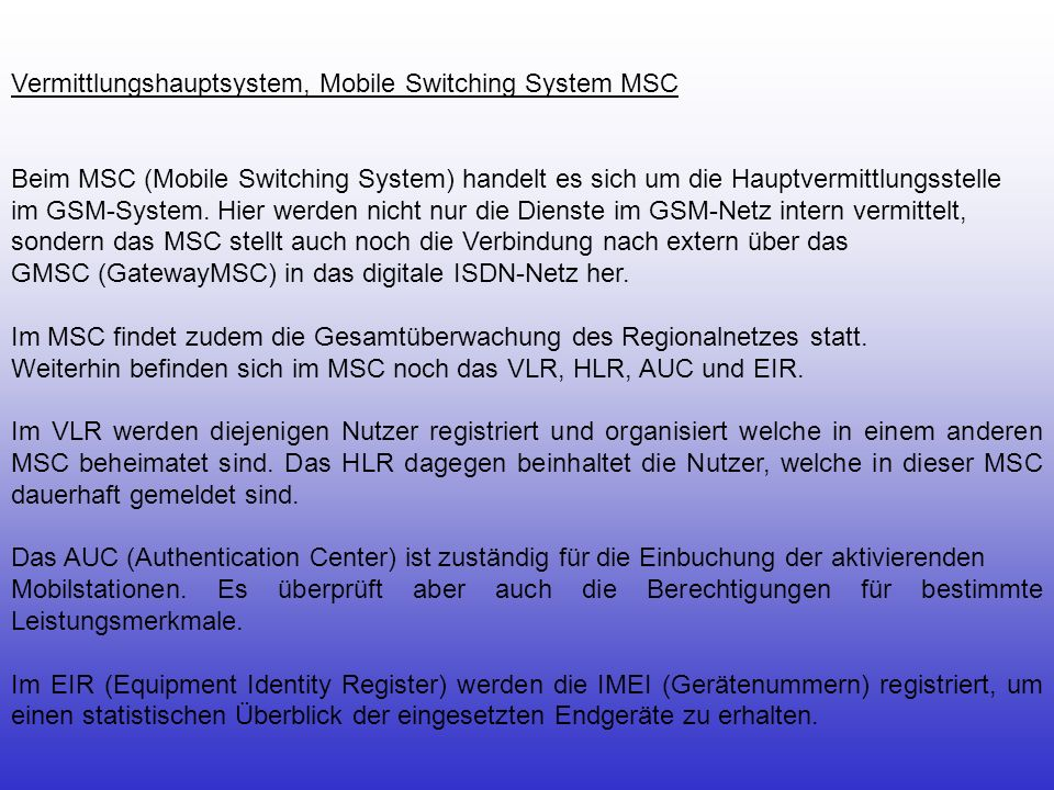 Vermittlungshauptsystem, Mobile Switching System MSC