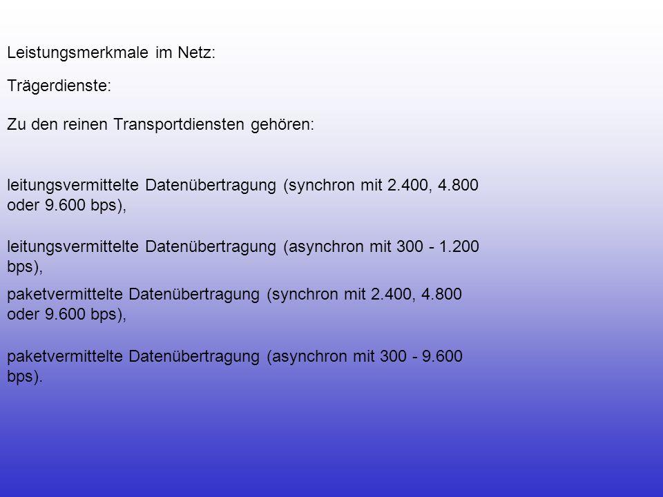 Leistungsmerkmale im Netz: