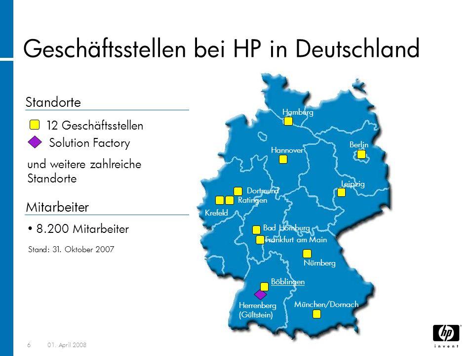 Geschäftsstellen bei HP in Deutschland