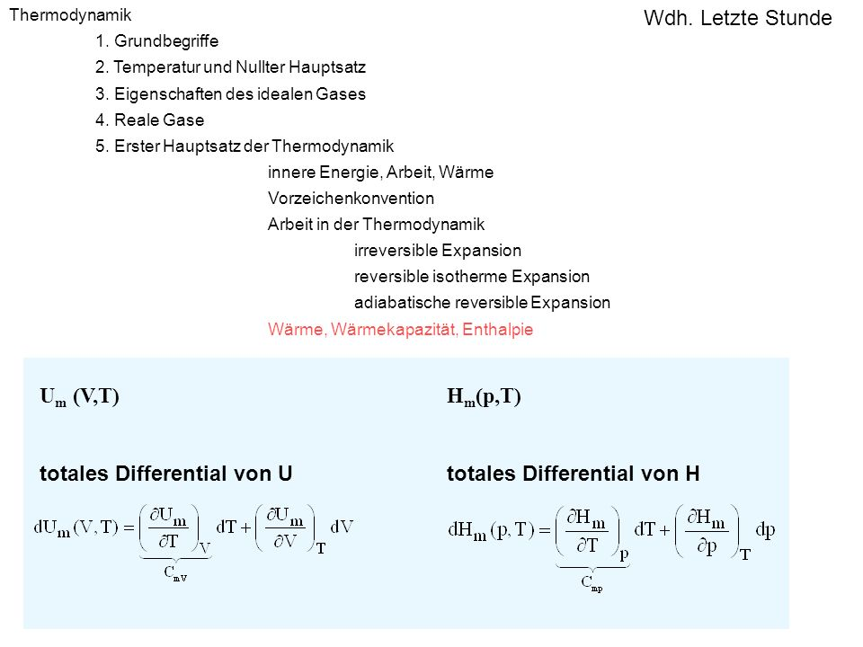 totales Differential von U Hm(p,T)