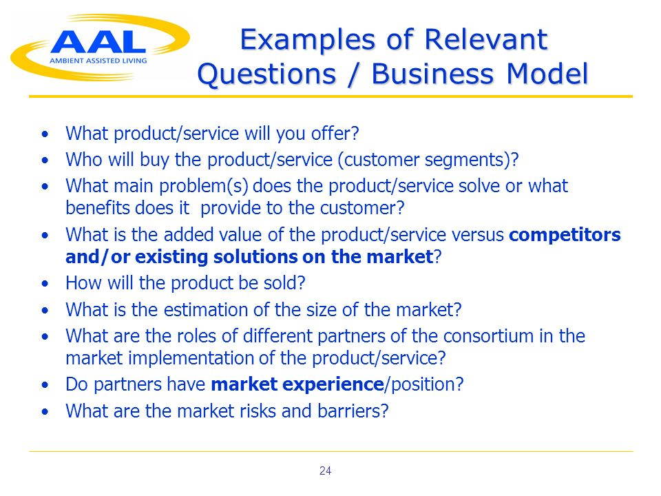 Examples of Relevant Questions / Business Model