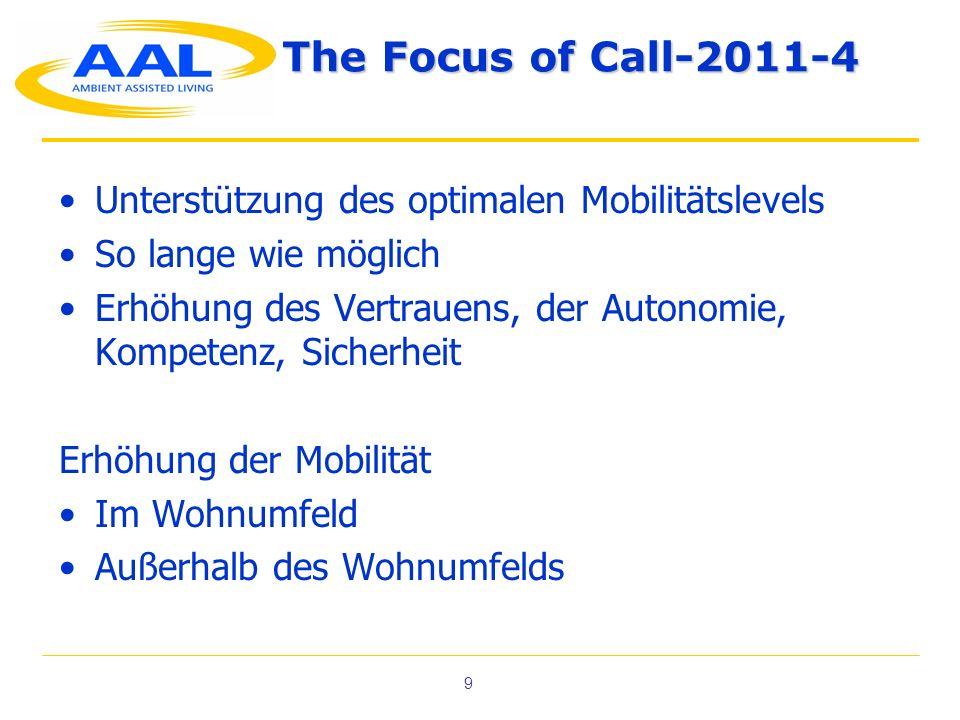 The Focus of Call-2011-4 Unterstützung des optimalen Mobilitätslevels