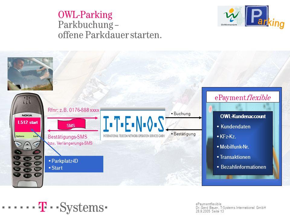 OWL-Parking Parkbuchung – offene Parkdauer starten.