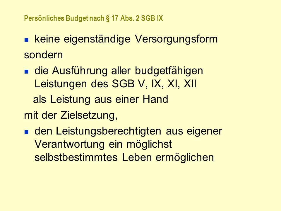 Persönliches Budget nach § 17 Abs. 2 SGB IX