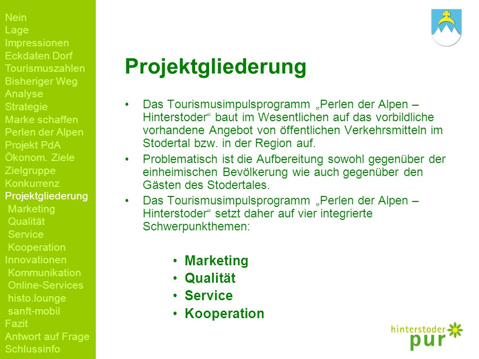 Projektgliederung Marketing Qualität Service Kooperation