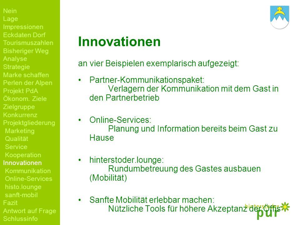 Innovationen an vier Beispielen exemplarisch aufgezeigt: