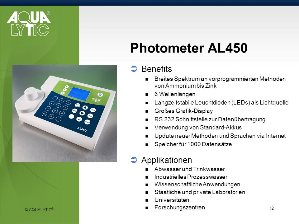 Photometer AL450 Benefits Applikationen