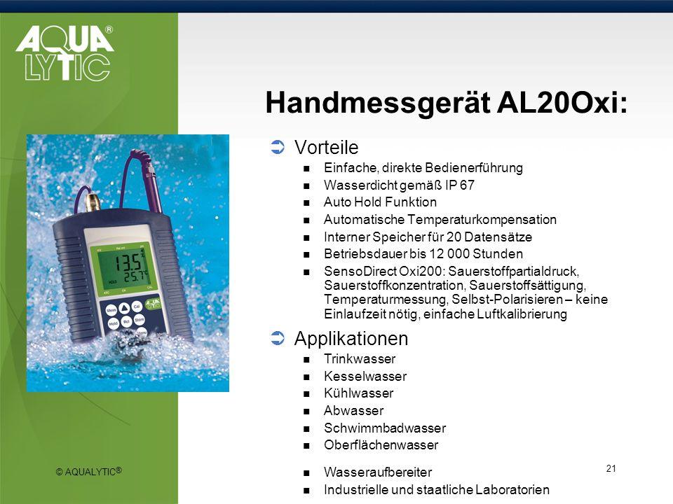 Handmessgerät AL20Oxi: Vorteile Applikationen