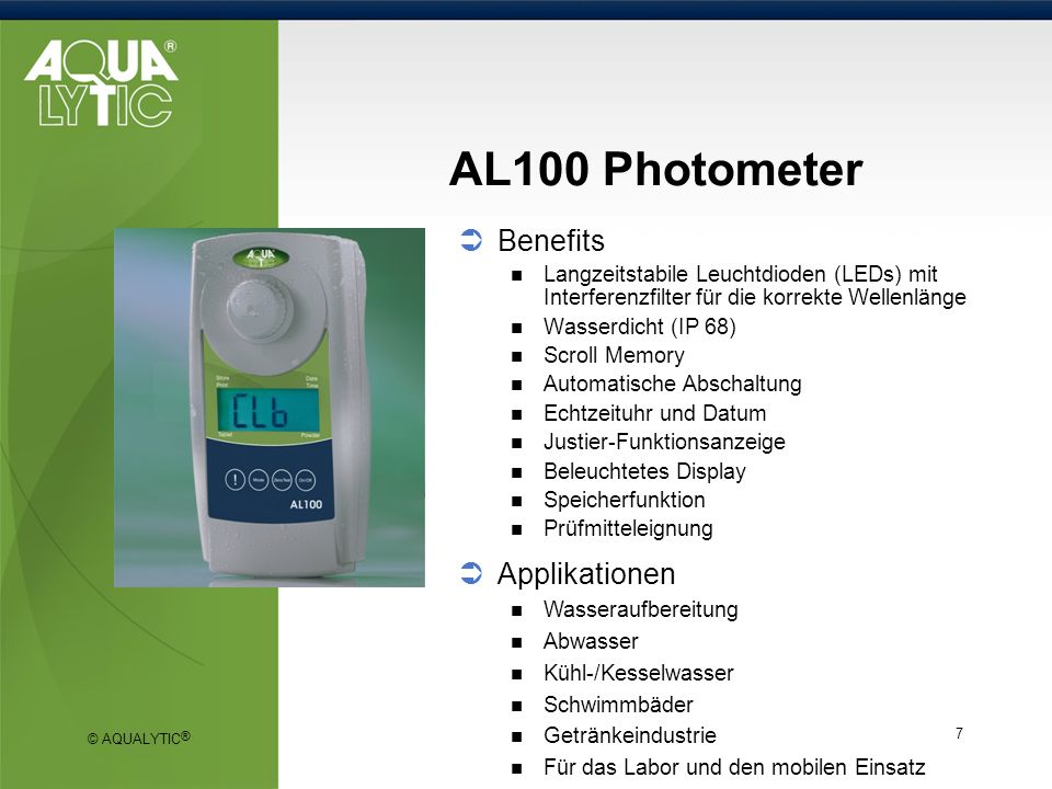 AL100 Photometer Benefits Applikationen