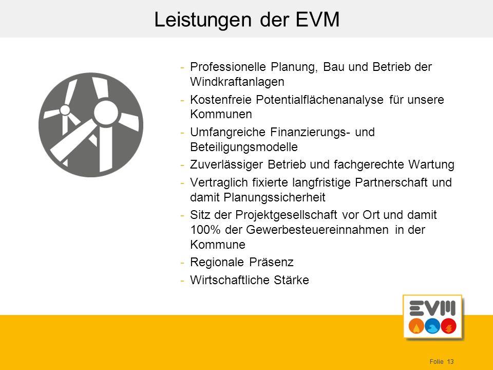 Leistungen der EVM Professionelle Planung, Bau und Betrieb der Windkraftanlagen. Kostenfreie Potentialflächenanalyse für unsere Kommunen.