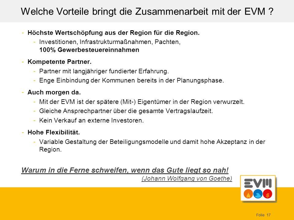 Welche Vorteile bringt die Zusammenarbeit mit der EVM
