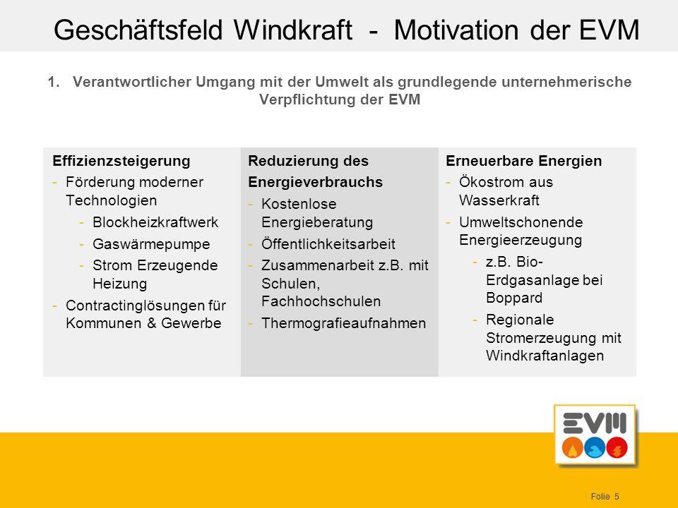 Geschäftsfeld Windkraft - Motivation der EVM