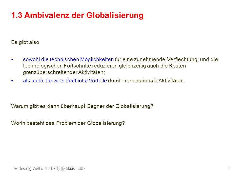 1.3 Ambivalenz der Globalisierung