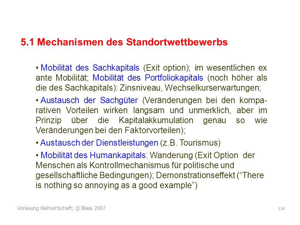 5.1 Mechanismen des Standortwettbewerbs