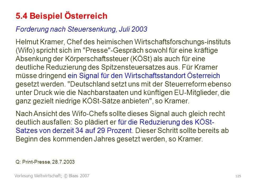 5.4 Beispiel Österreich Forderung nach Steuersenkung, Juli 2003