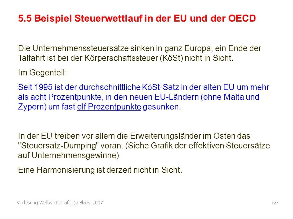 5.5 Beispiel Steuerwettlauf in der EU und der OECD