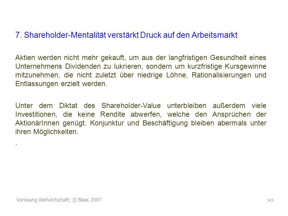 7. Shareholder-Mentalität verstärkt Druck auf den Arbeitsmarkt