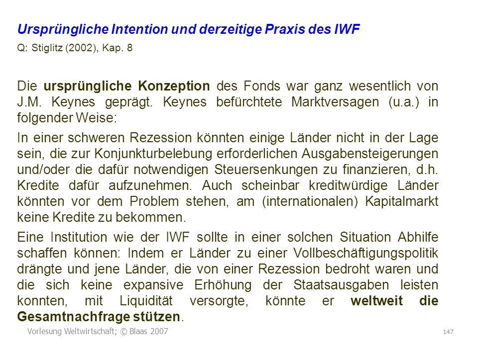 Ursprüngliche Intention und derzeitige Praxis des IWF