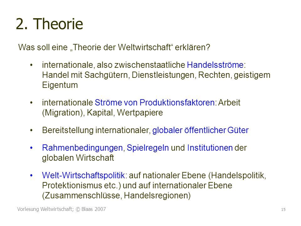 """2. Theorie Was soll eine """"Theorie der Weltwirtschaft erklären"""
