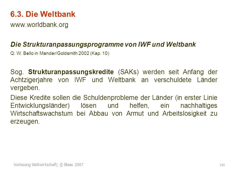 6.3. Die Weltbank www.worldbank.org