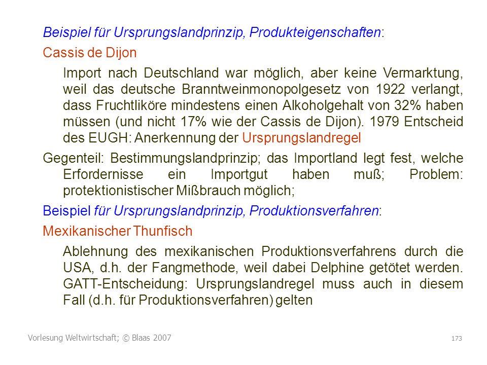 Beispiel für Ursprungslandprinzip, Produkteigenschaften: