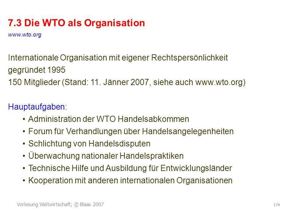 7.3 Die WTO als Organisation