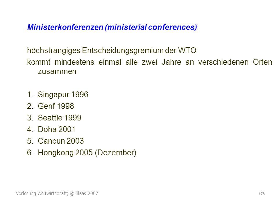 Ministerkonferenzen (ministerial conferences)