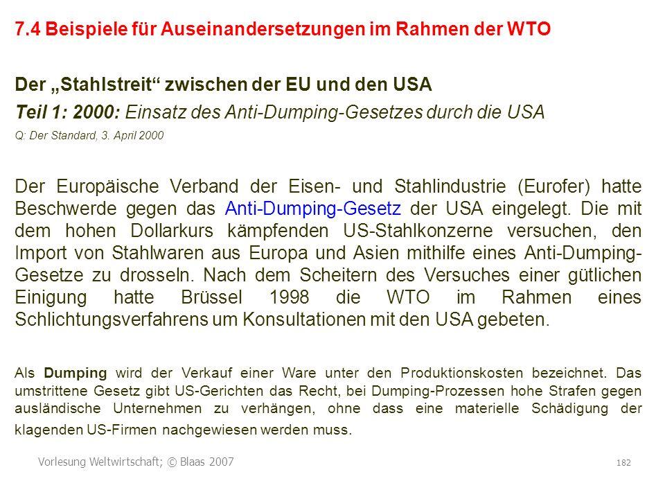 7.4 Beispiele für Auseinandersetzungen im Rahmen der WTO