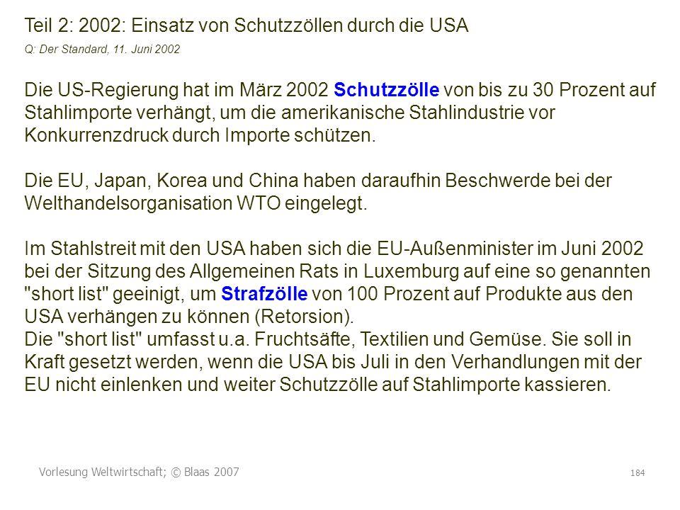 Teil 2: 2002: Einsatz von Schutzzöllen durch die USA