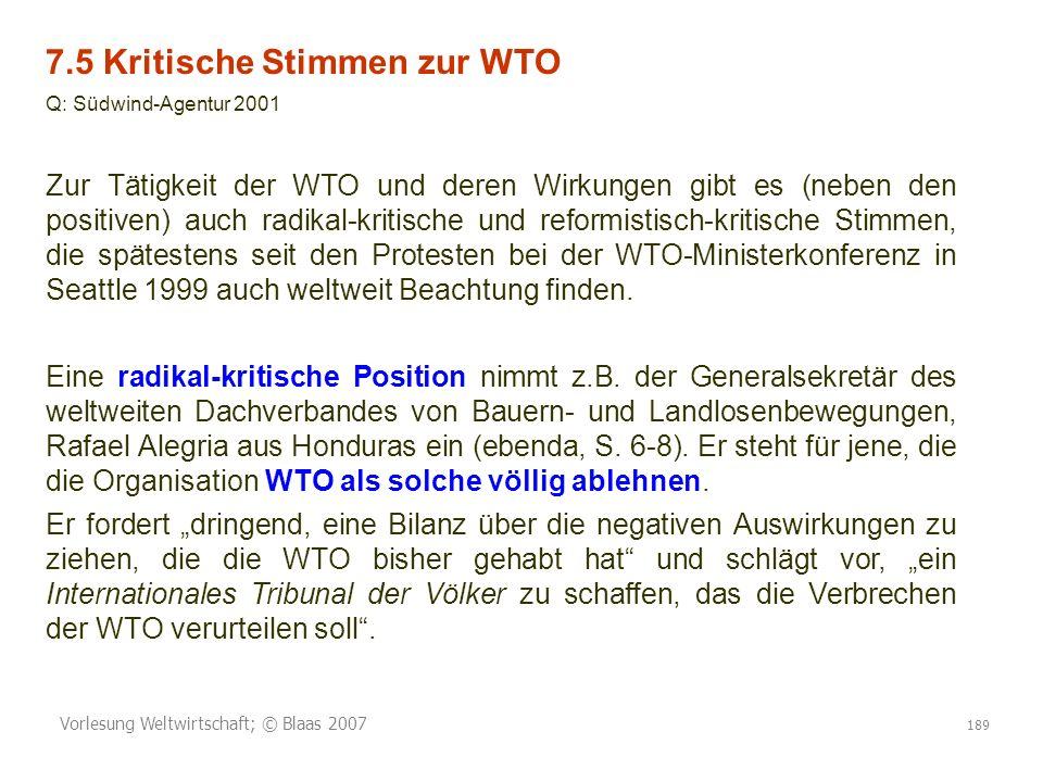 7.5 Kritische Stimmen zur WTO
